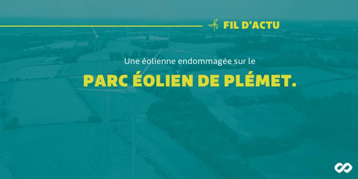 Une éolienne endommagée sur le parc éolien de Plémet dans les Côtes-d'Armor.