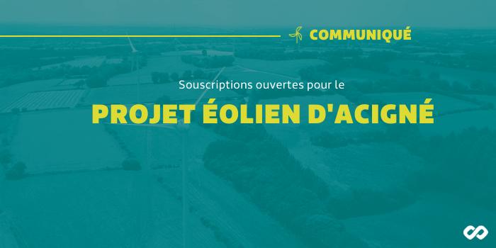 Souscriptions ouvertes pour le projet éolien d'Acigné